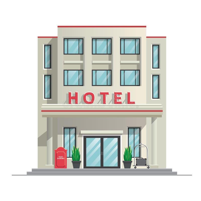 Construção moderna simples do hotel ilustração do vetor