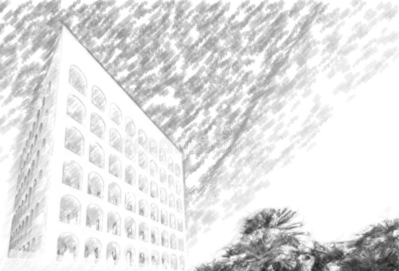 Construção monumental em Roma ilustração stock