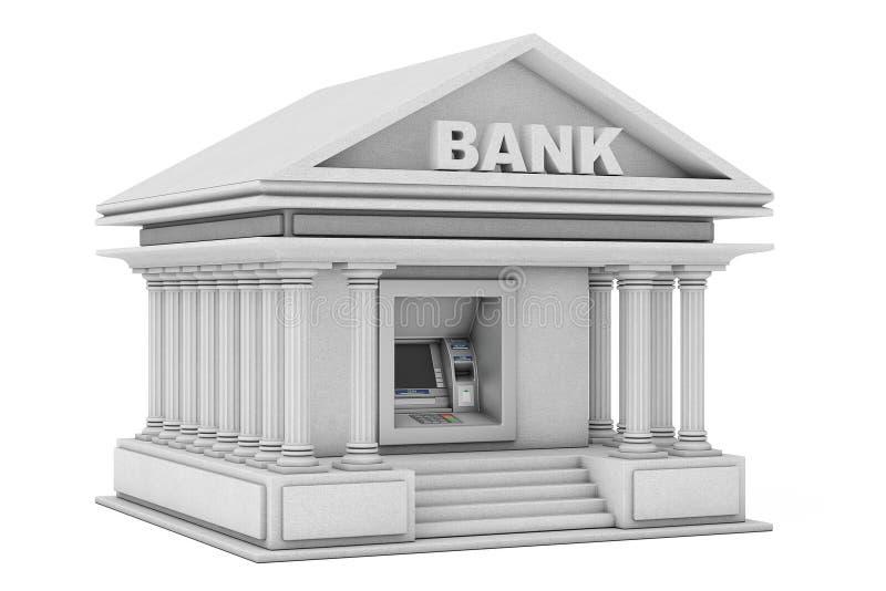Construção na máquina do ATM do dinheiro do banco como a construção de banco rendição 3d ilustração stock