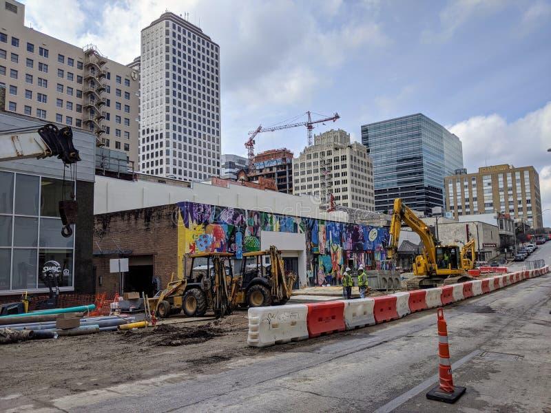 Construção nas ruas de Austin Texas fotografia de stock royalty free