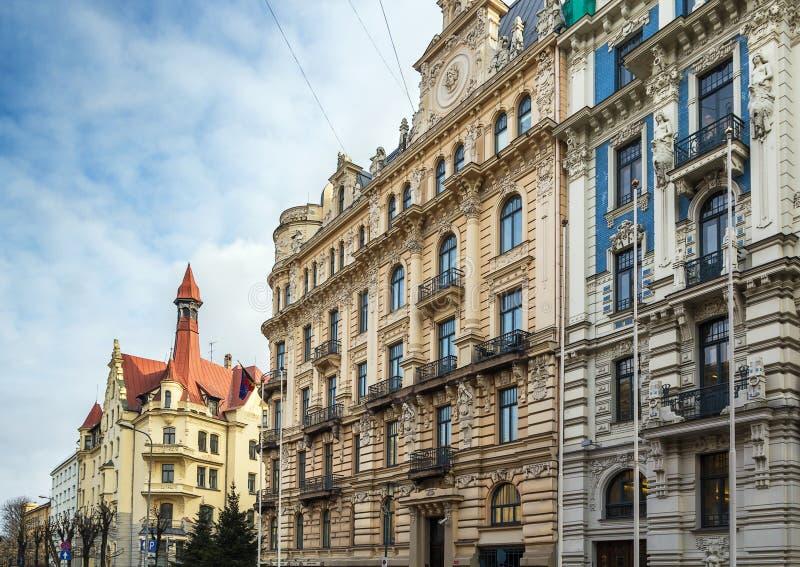 A construção no estilo de Art Nouveau, Riga fotografia de stock royalty free