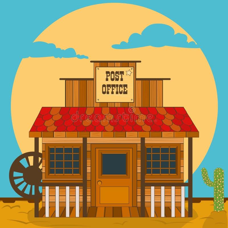 Construção ocidental velha - estação de correios ilustração stock