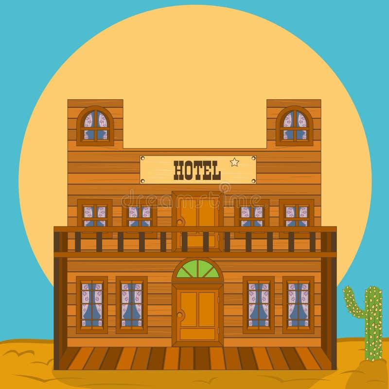 Construção ocidental velha - hotel ilustração royalty free