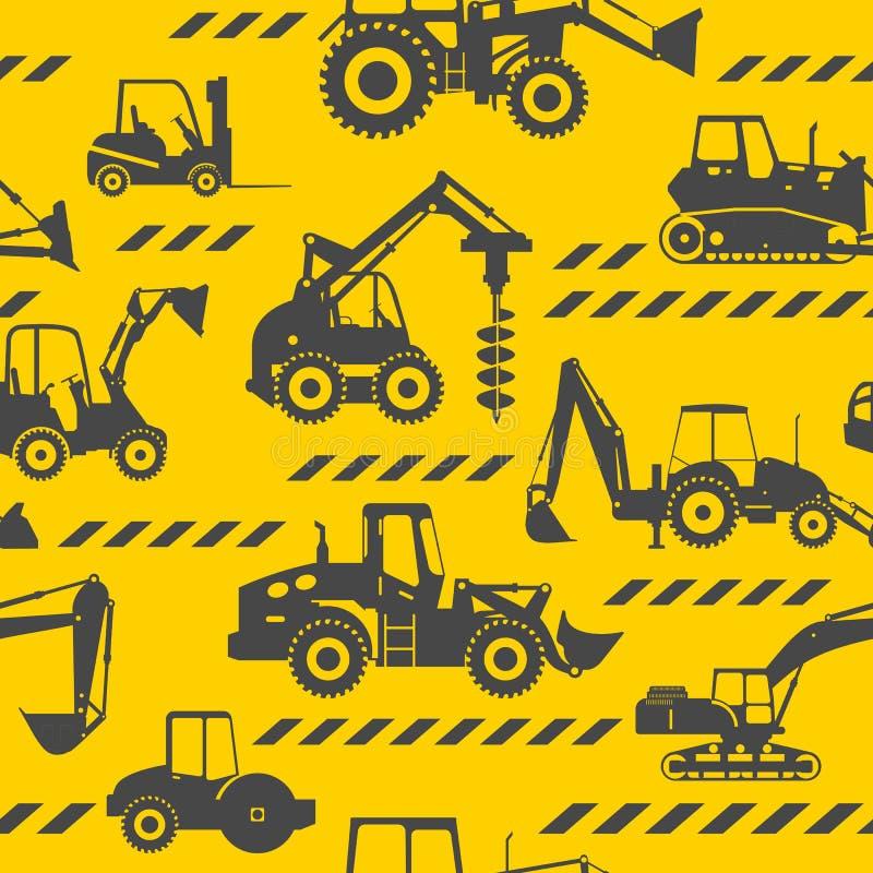 A construção pesada faz à máquina o fundo sem emenda ilustração do vetor