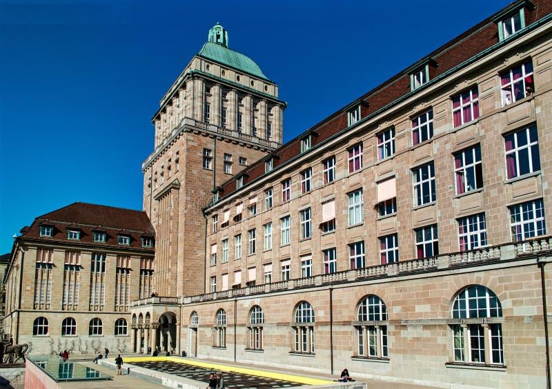 Construção principal da universidade de Zurique horizontal fotografia de stock royalty free