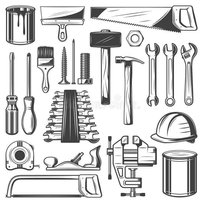 Construção, reparo da casa ou ícones da ferramenta da carpintaria ilustração royalty free