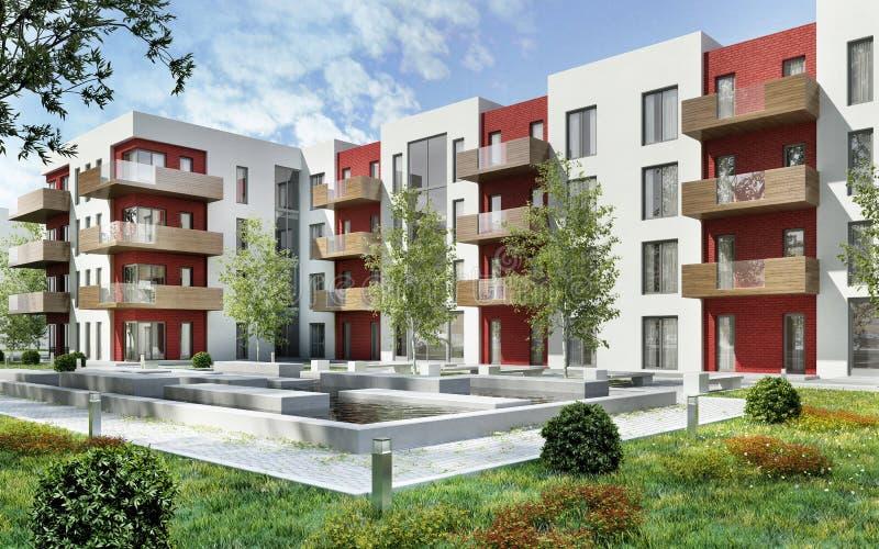 Construção residencial moderna e área de recreação imagens de stock