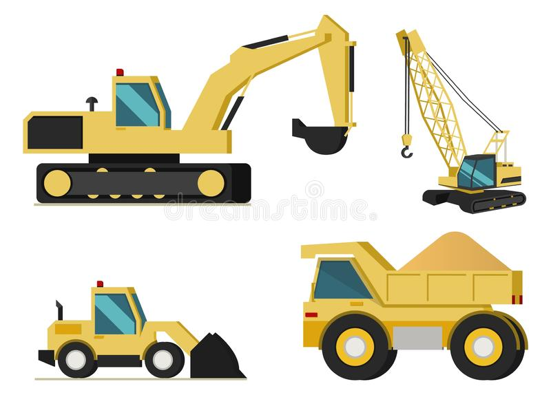 A construção, setor mineiro faz à máquina o grupo do vetor ilustração do vetor