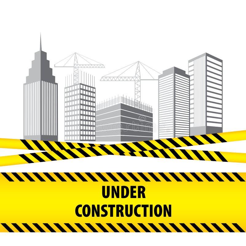 Construção sob o canteiro de obras Construção Infographics Projeto do molde da ilustração do vetor com o bor listrado preto e ama ilustração do vetor