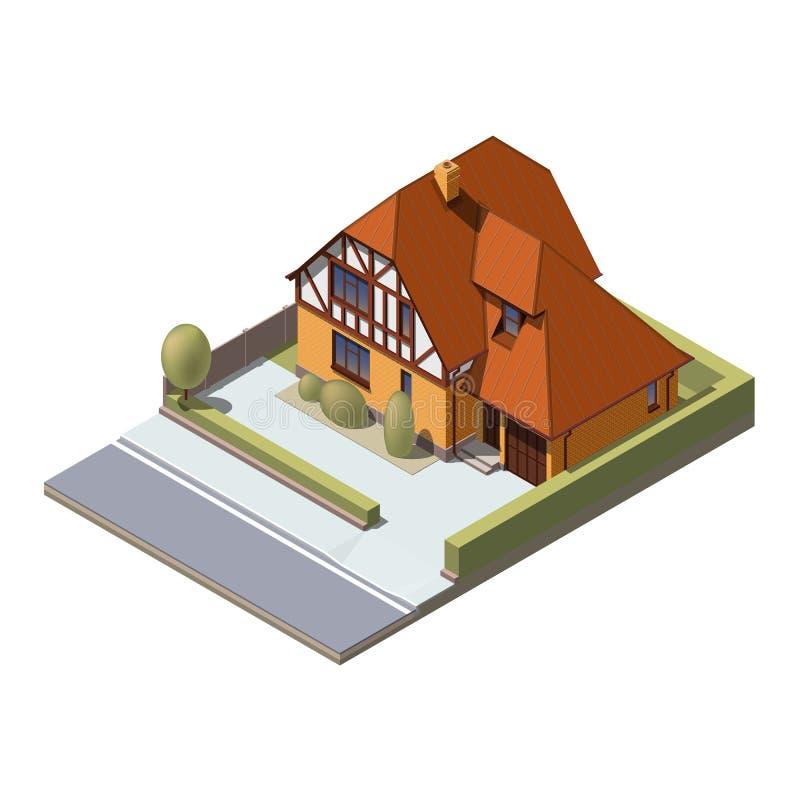 Construção suburbana isométrica do vetor ilustração stock