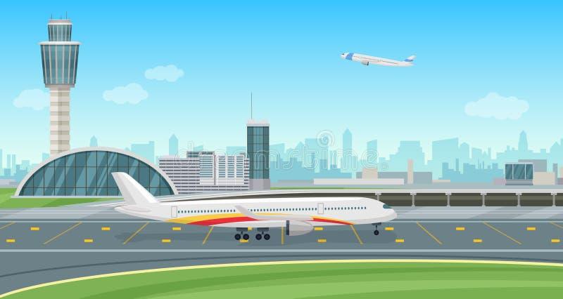 Construção terminal de aeroporto com descolagem dos aviões Paisagem do aeroporto do vetor ilustração royalty free