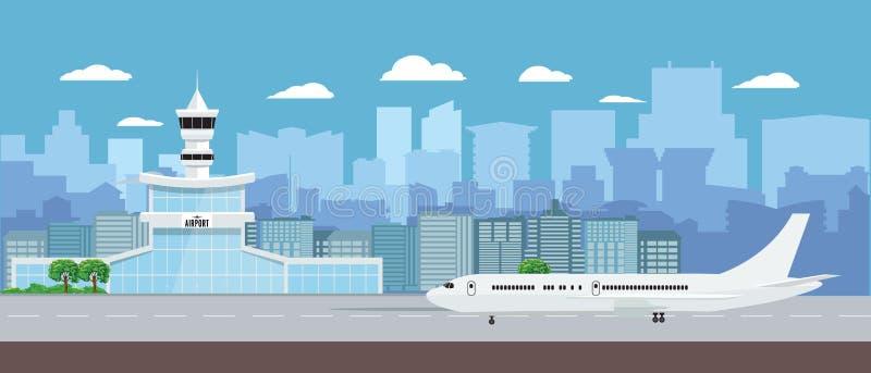 Construção terminal de aeroporto com descolagem dos aviões Plano e paisagem do aeroporto do projeto da cor sólida Ilustração do v ilustração royalty free