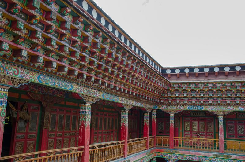 Construção tibetana do estilo fotografia de stock royalty free