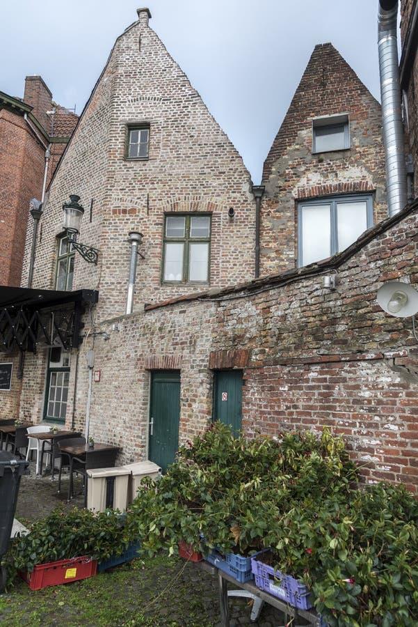 Construção tradicional perto do canal Bruges de Groenerei fotografia de stock royalty free