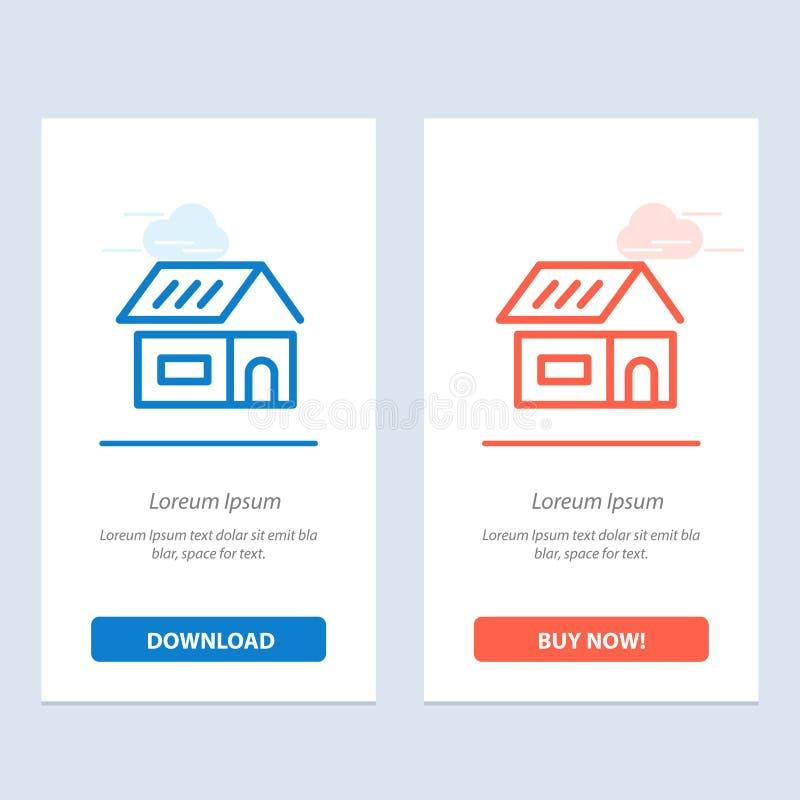 Construção, construção, construção, transferência azul e vermelha da casa e para comprar agora o molde do cartão do Widget da Web ilustração royalty free