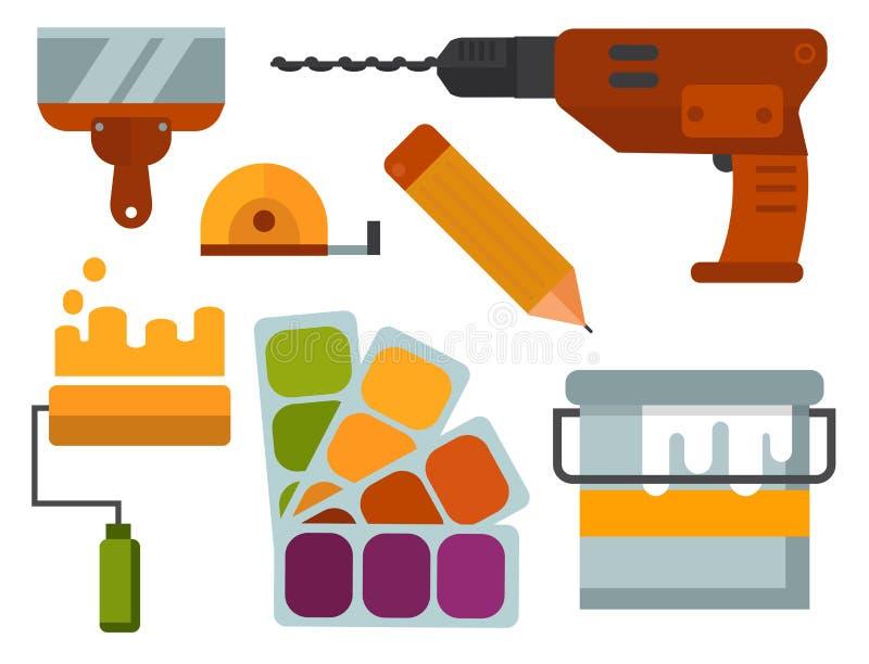 A construção utiliza ferramentas a ilustração do vetor do trabalhador manual da renovação da casa do equipamento do trabalhador ilustração stock