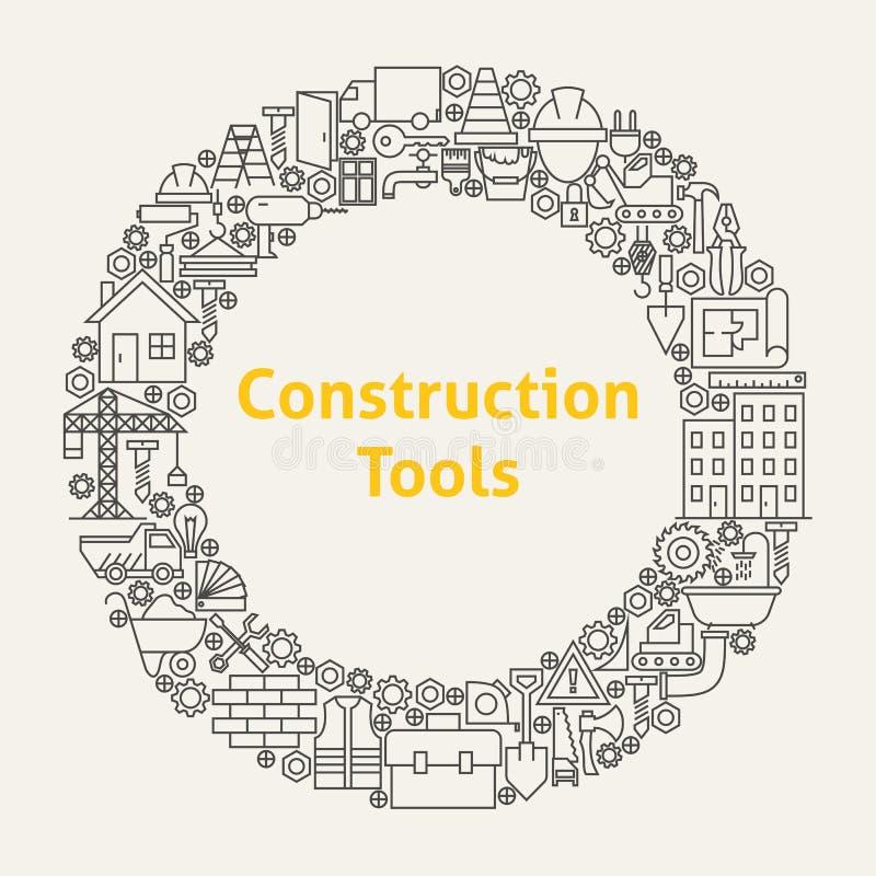 A construção utiliza ferramentas a linha Art Icons Set Circle ilustração royalty free