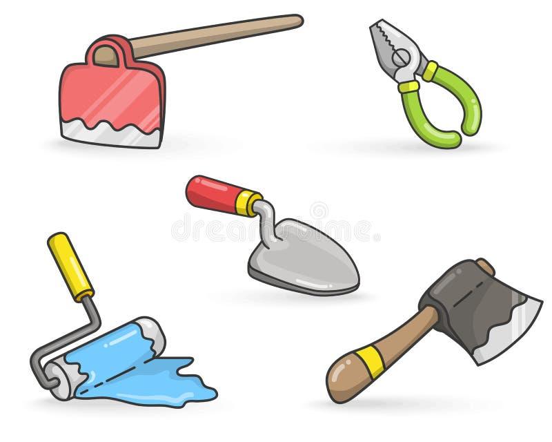 A construção utiliza ferramentas o vetor colorido ilustração royalty free