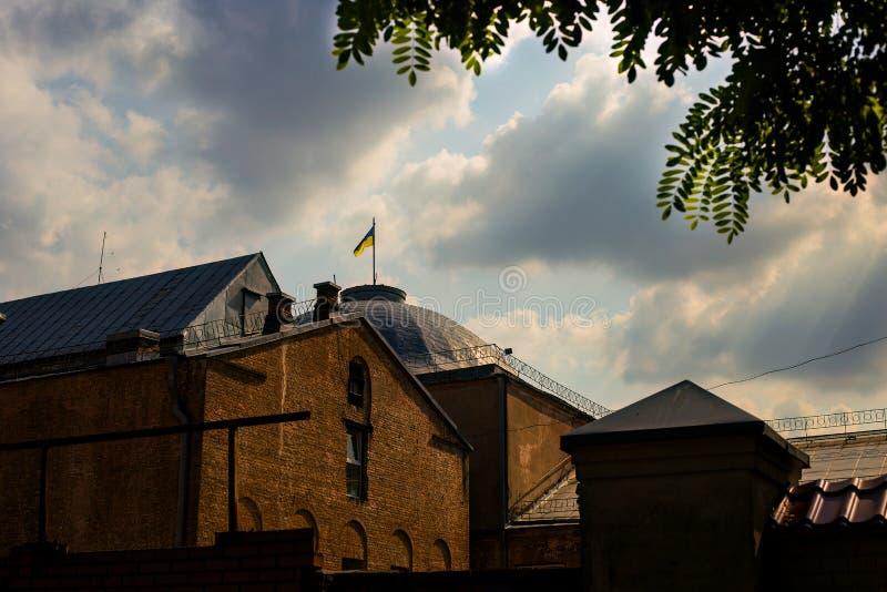 Construção velha da cidade de Kiev imagens de stock royalty free