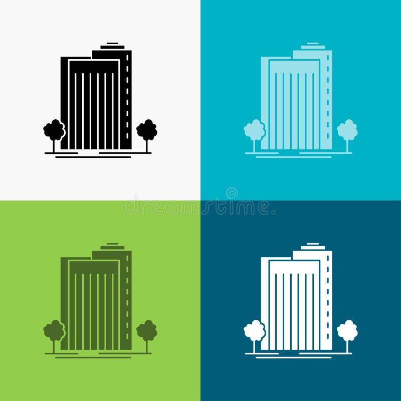 Construção, verde, planta, cidade, ícone esperto sobre o vário fundo projeto do estilo do glyph, projetado para a Web e o app Vet ilustração stock