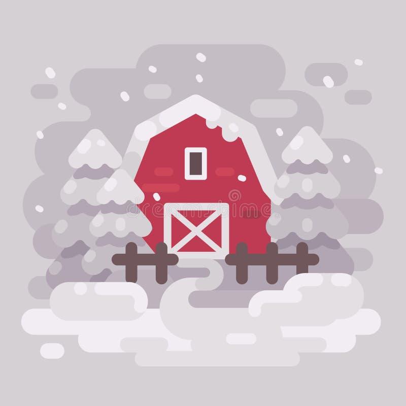 Construção vermelha do celeiro com abeto em uma paisagem nevado do inverno ilustração stock