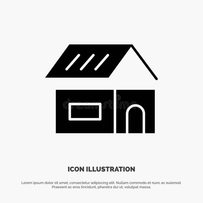 Construção, construção, construção, vetor contínuo do ícone do Glyph da casa ilustração stock