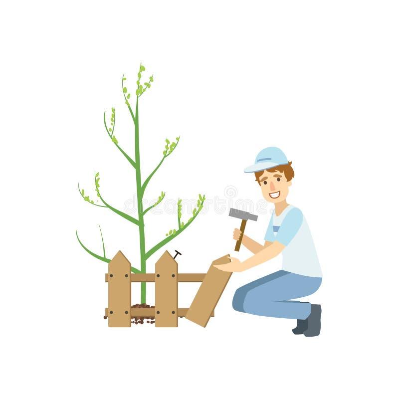 Construção voluntária uma árvore de Around Newly Planted da cerca ilustração royalty free