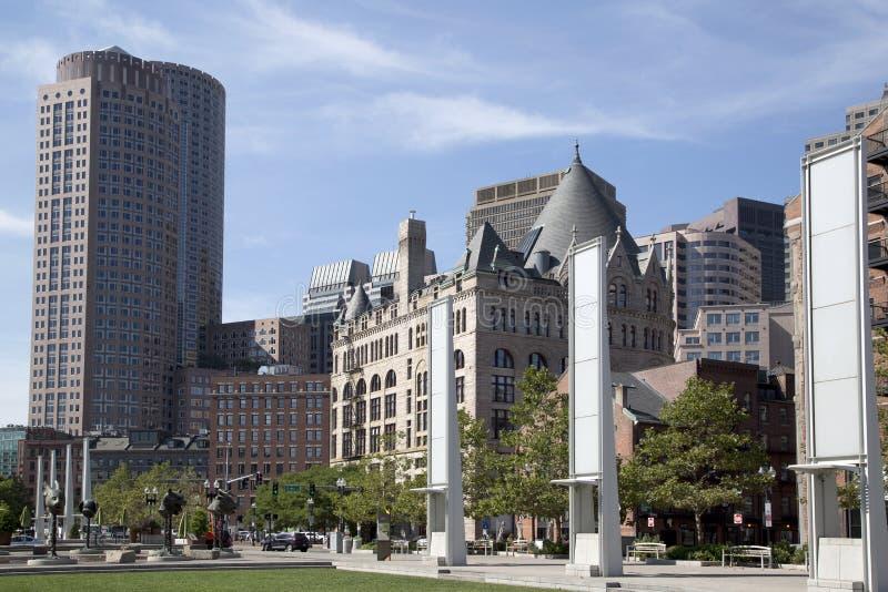 Construções agradáveis na massa de Boston imagens de stock
