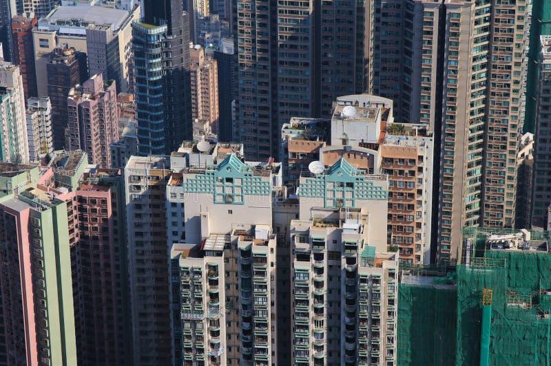 Construções altas no centro de Hong Kong fotografia de stock royalty free