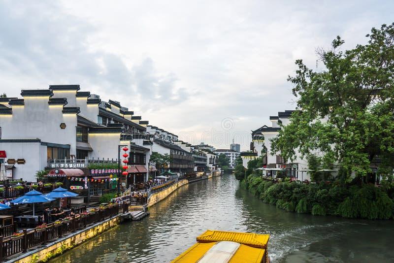 Construções antigas ao longo do rio de Qinhuaihe imagem de stock royalty free