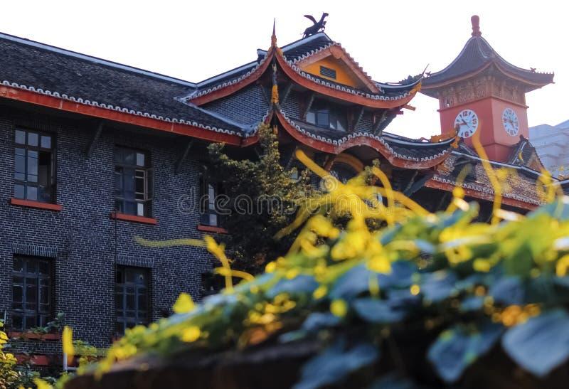 Construções antigas chinesas e plantas de escalada na tarde do outono imagem de stock