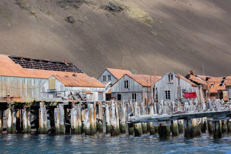 Construções antigas da vila da baleação em Geórgia sul CR2 fotografia de stock