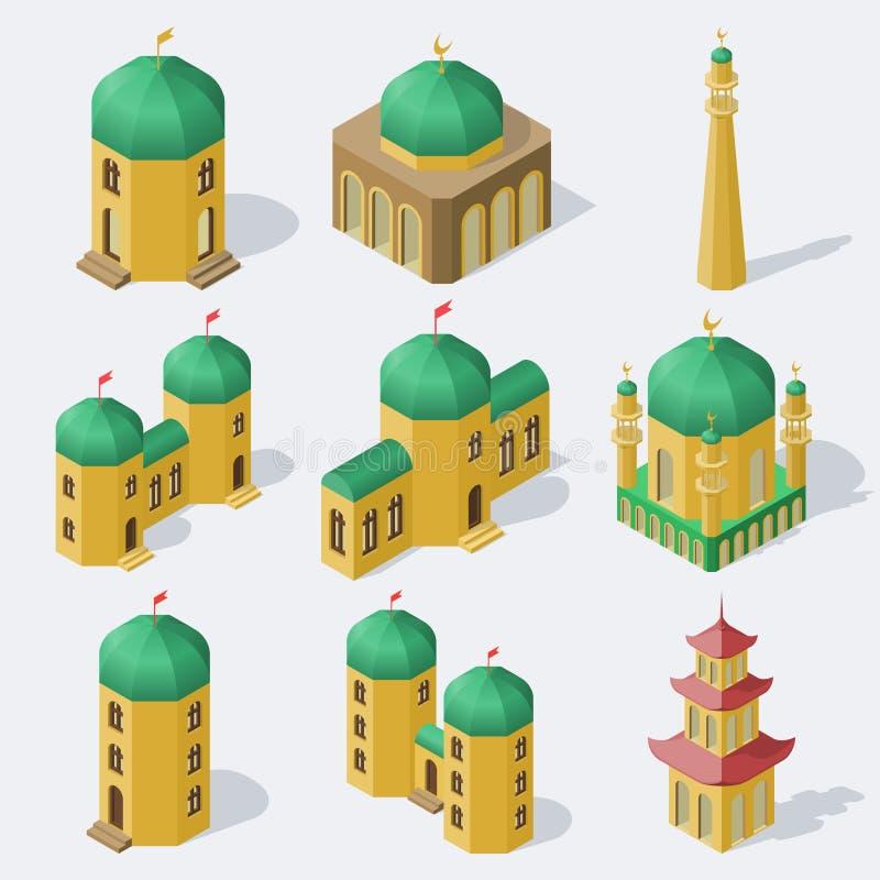 Construções asiáticas isométricas ajustadas ilustração do vetor