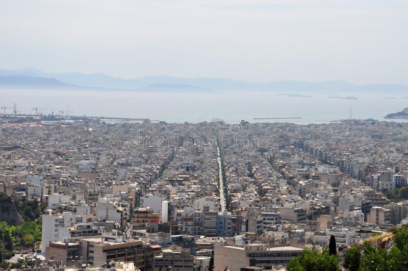 Construções Atenas da cidade do mar foto de stock