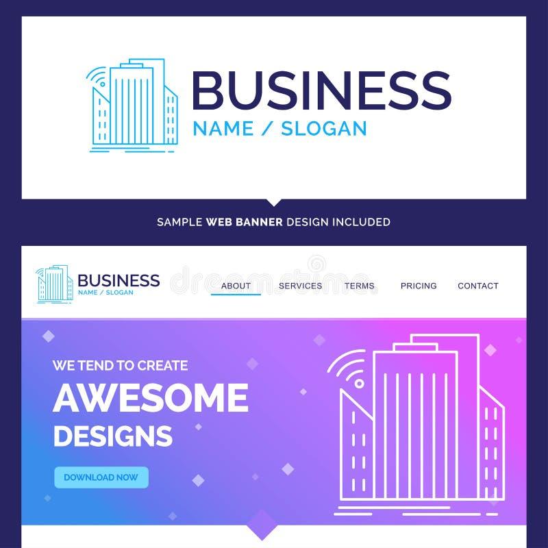 Construções bonitas da marca do conceito do negócio, cidade, sensor, s ilustração stock
