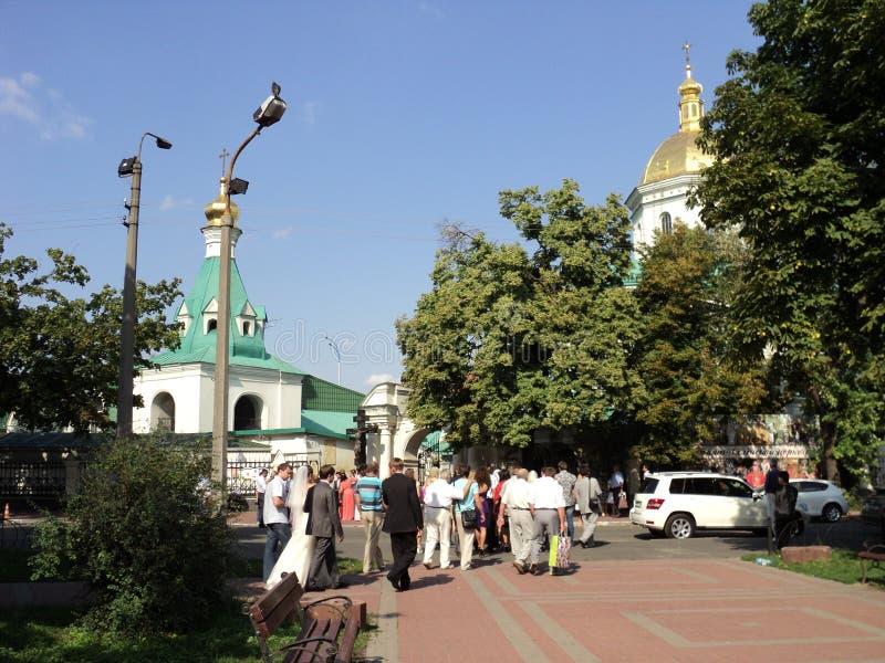 Construções bonitas de Kiev de igrejas velhas foto de stock