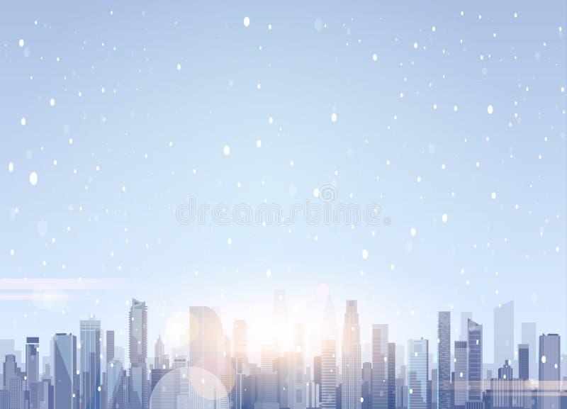 Construções bonitas do arranha-céus da paisagem da cidade do inverno no Feliz Natal da neve e no fundo do ano novo feliz ilustração do vetor