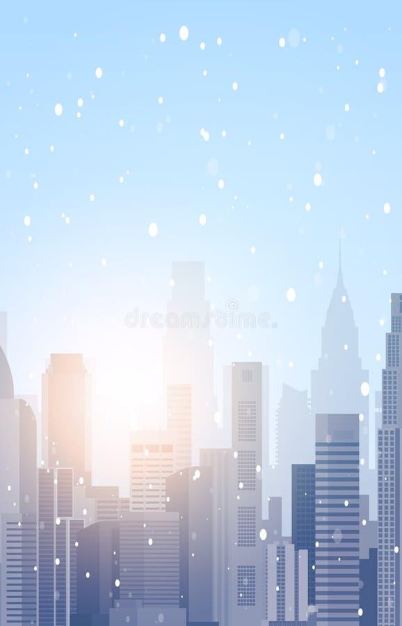 Construções bonitas do arranha-céus da paisagem da cidade do inverno no Feliz Natal da neve e no vertical do fundo do ano novo fe ilustração stock