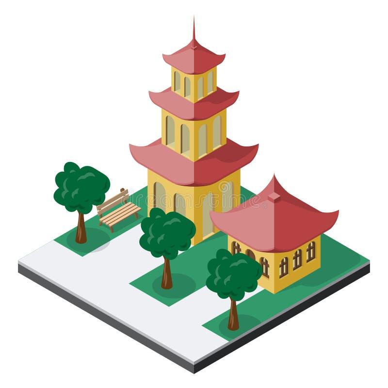 Construções chinesas do pagode com árvores e banco na vista isométrica
