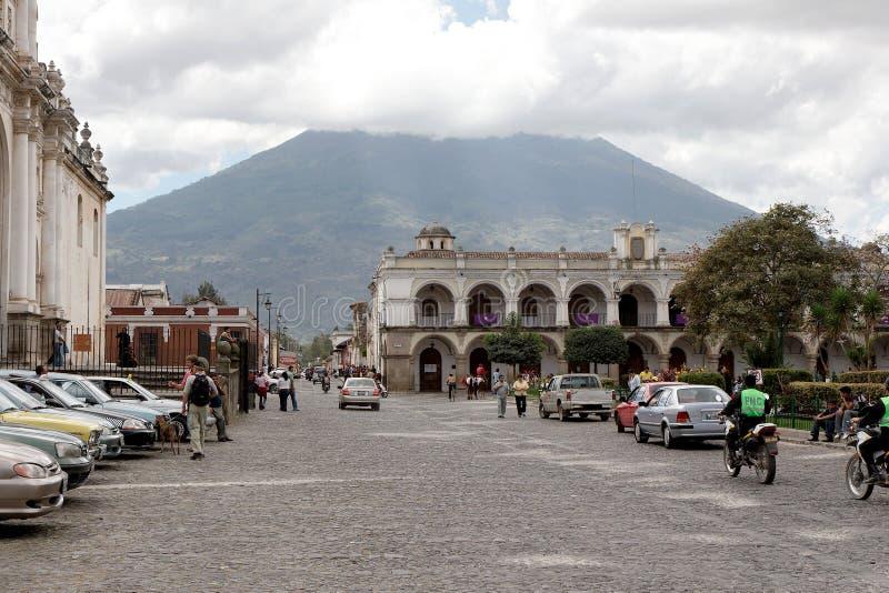 Construções coloniais de Antígua, Guatemala fotografia de stock royalty free