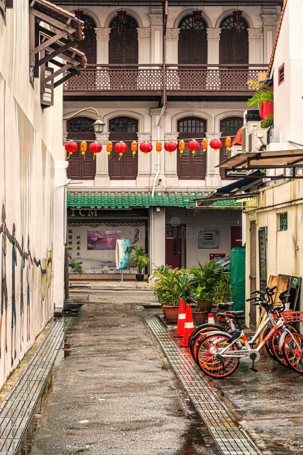 Construções coloniais no bairro chinês, Singapura fotografia de stock royalty free