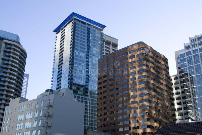Construções comerciais em Seattle do centro imagem de stock