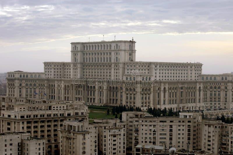 Construções comunistas em Bucareste, Roménia foto de stock royalty free