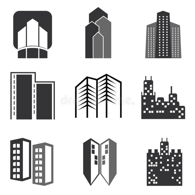 Construções da cidade do vetor ajustadas ilustração royalty free