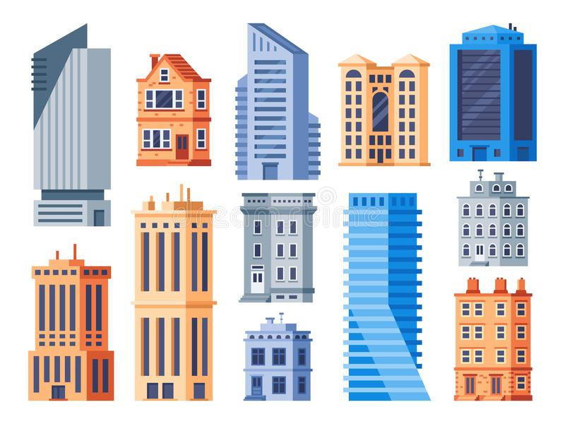 Construções da cidade Exterior urbano do escritório, construção de casa viva e grupo isolado dos ícones do vetor da casa de apart ilustração stock