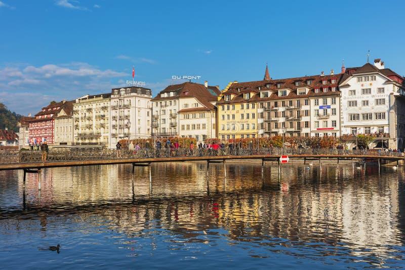 Construções da cidade velha da cidade da lucerna, Suíça fotos de stock royalty free