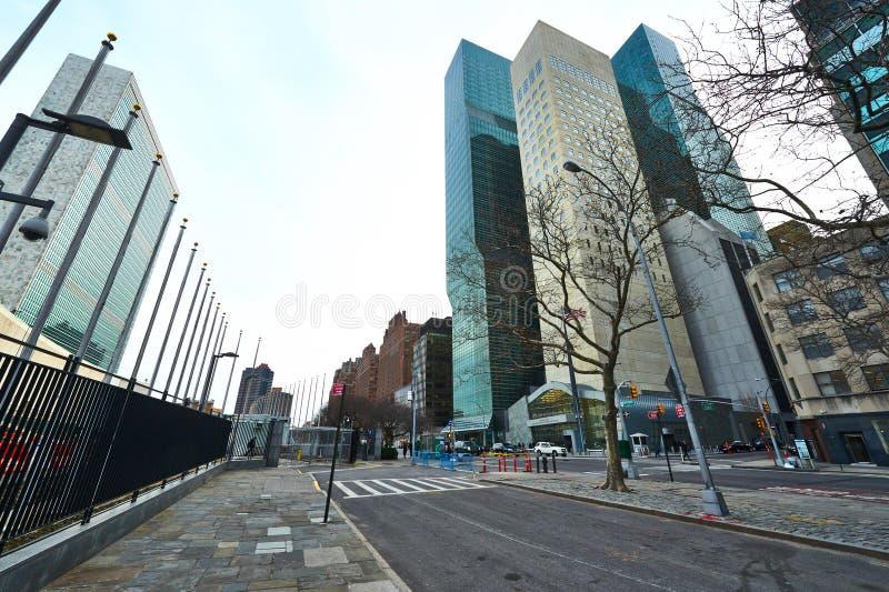 Construções das matrizes de United Nations em Manhattan imagens de stock