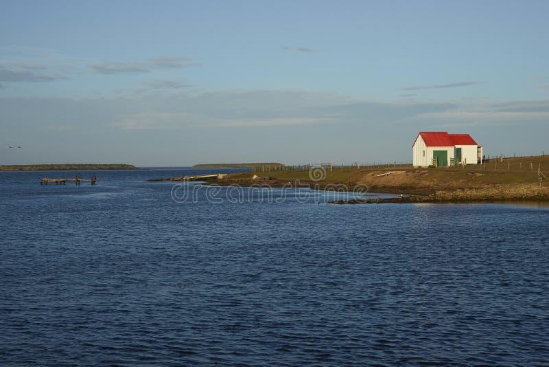Construções de exploração agrícola na ilha mais desolada - Falkland Islands foto de stock royalty free