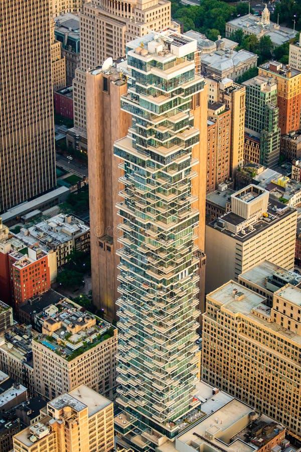 Construções de New York no centro da cidade fotografia de stock royalty free