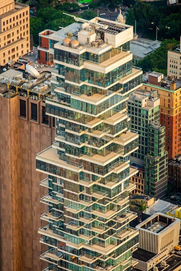 Construções de New York no centro da cidade fotos de stock royalty free